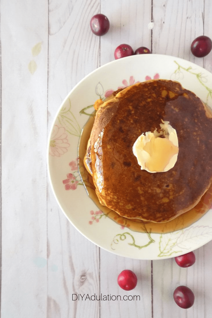 Plate of Pumpkin Pancakes with Syrup