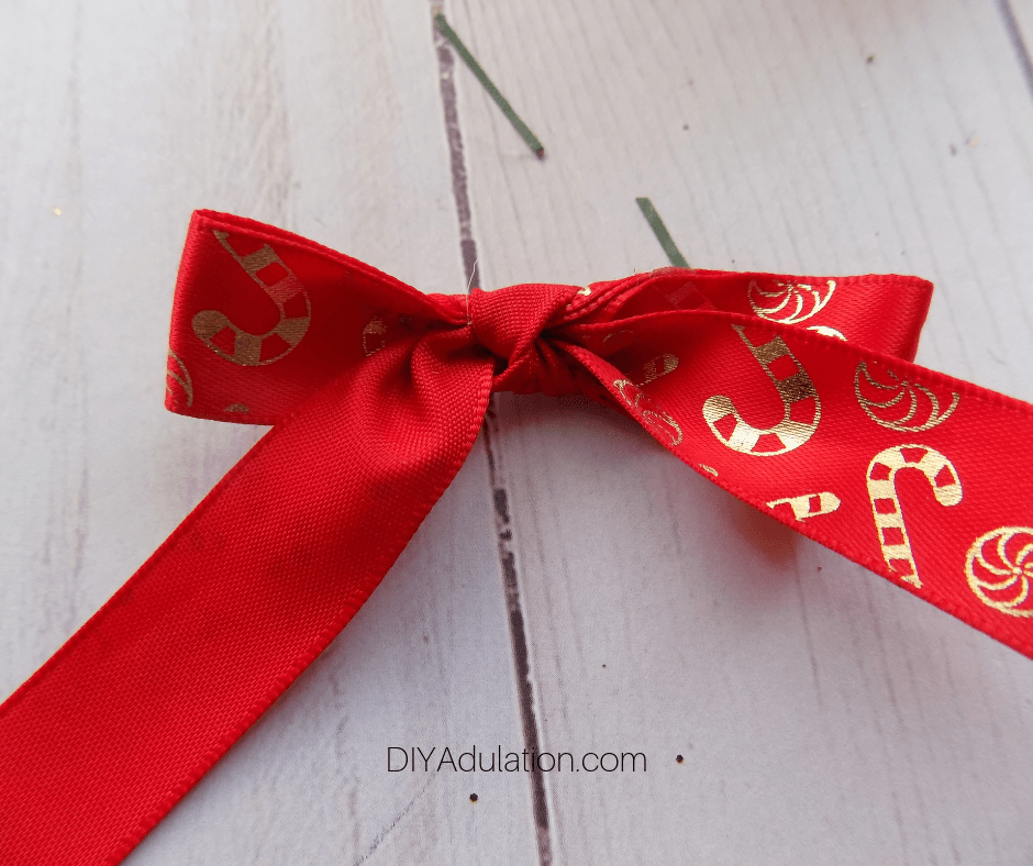 Red and Gold Candy Cane Ribbon Bow
