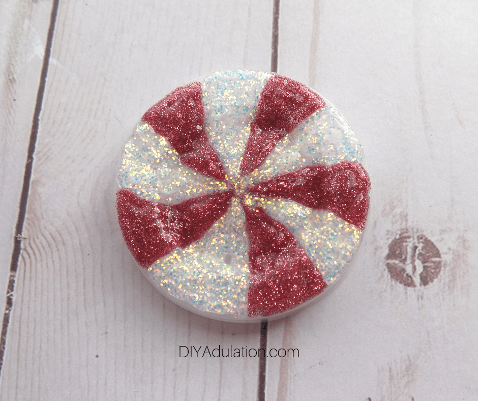 Red and White Glitter Glue on Condiment Container Lid