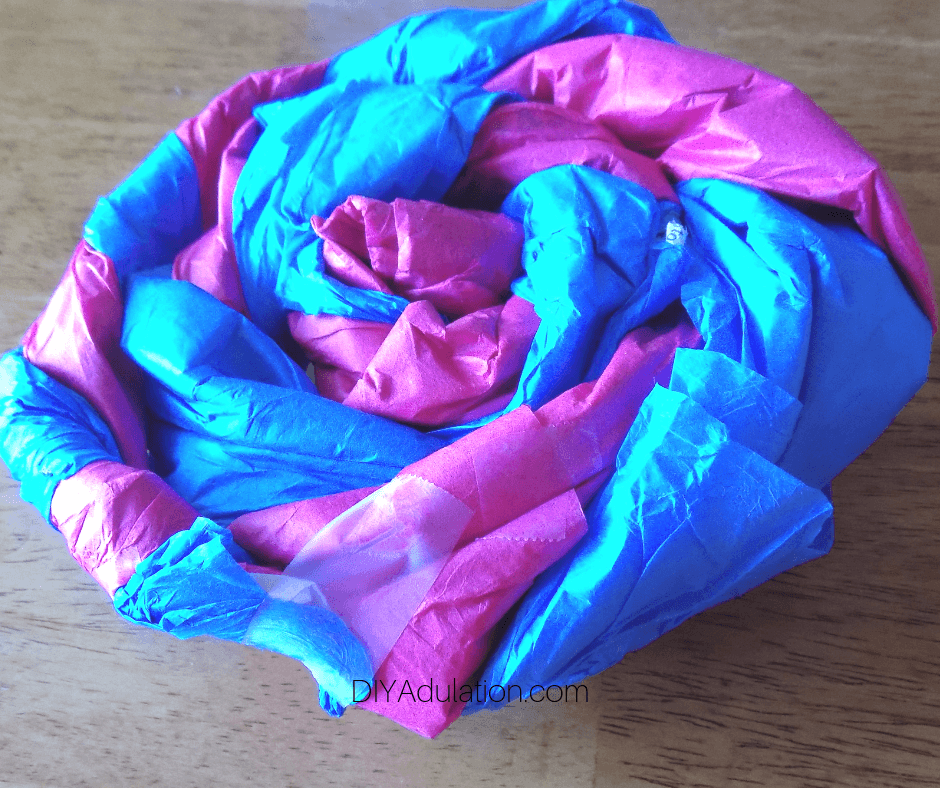 Tape on Back of Blue and Pink Tissue Paper Swirl