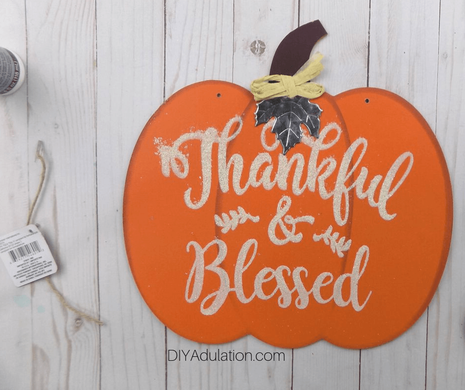 Thankful and Blessed Wooden Pumpkin Sign