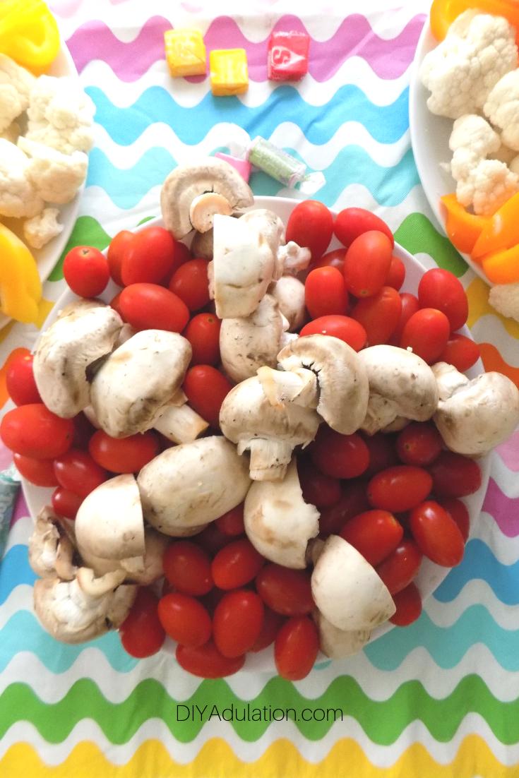 Tomato and Mushroom Veggie Tray