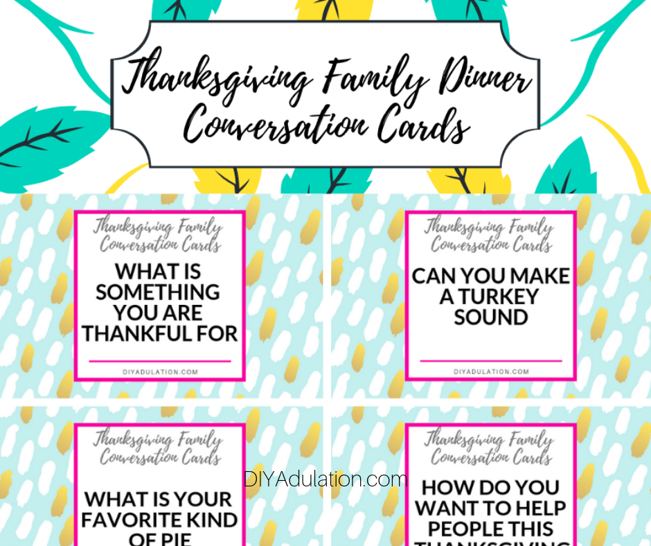 Top of Thanksgiving Family Dinner Conversation Cards
