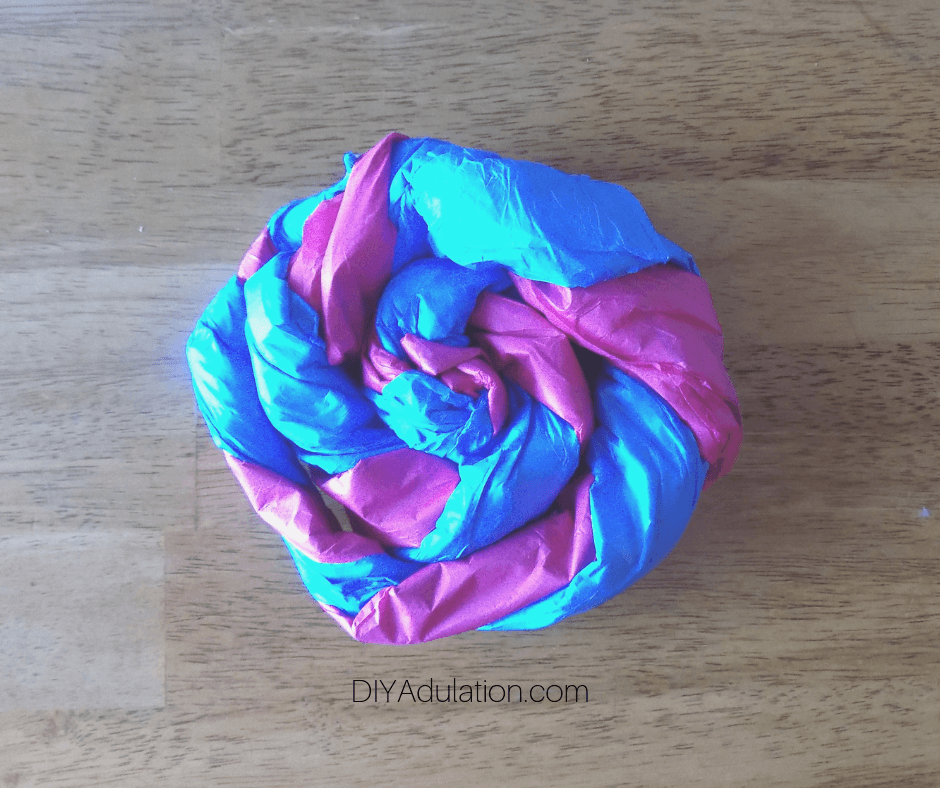 Twisted Blue and Pink Tissue Paper in a Swirl