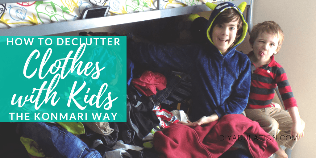 Kids Sitting on Bed with text overlay - How to Declutter Clothes with Kids the KonMari Way