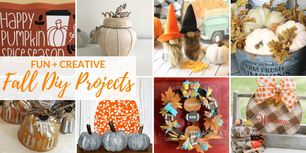 Collage of Fall Crafts with text overlay - Fun and Creative Fall DIY Projects