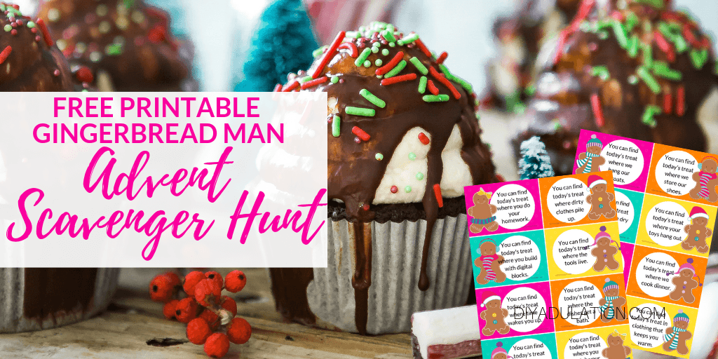 Christmas Cupcakes and Peppermint Sticks with text overlay - Free Printable Gingerbread Man Advent Scavenger Hunt