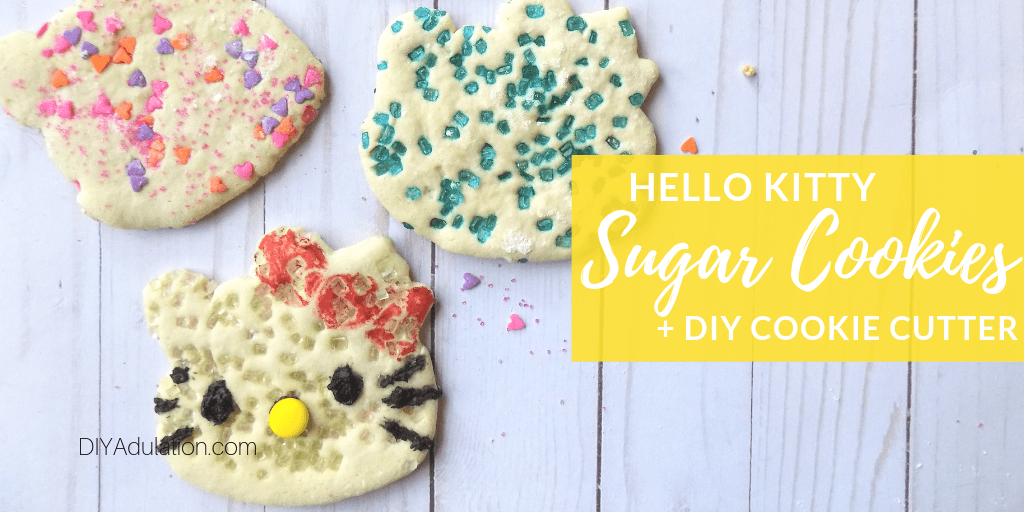 Hello Kitty Sugar Cookies with text overlay - Hello Kitty Sugar Cookie and DIY Cookie Cutter