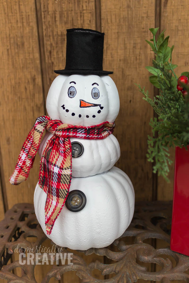 Upcycled Pumpkin Snowman