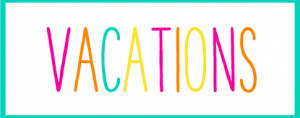 Teal Box with the Word Vacation Inside