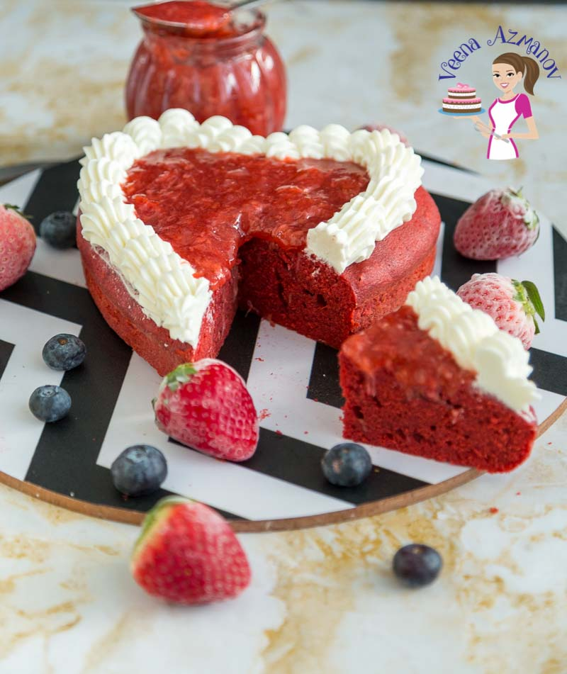 Heart cake with a piece cut out of it