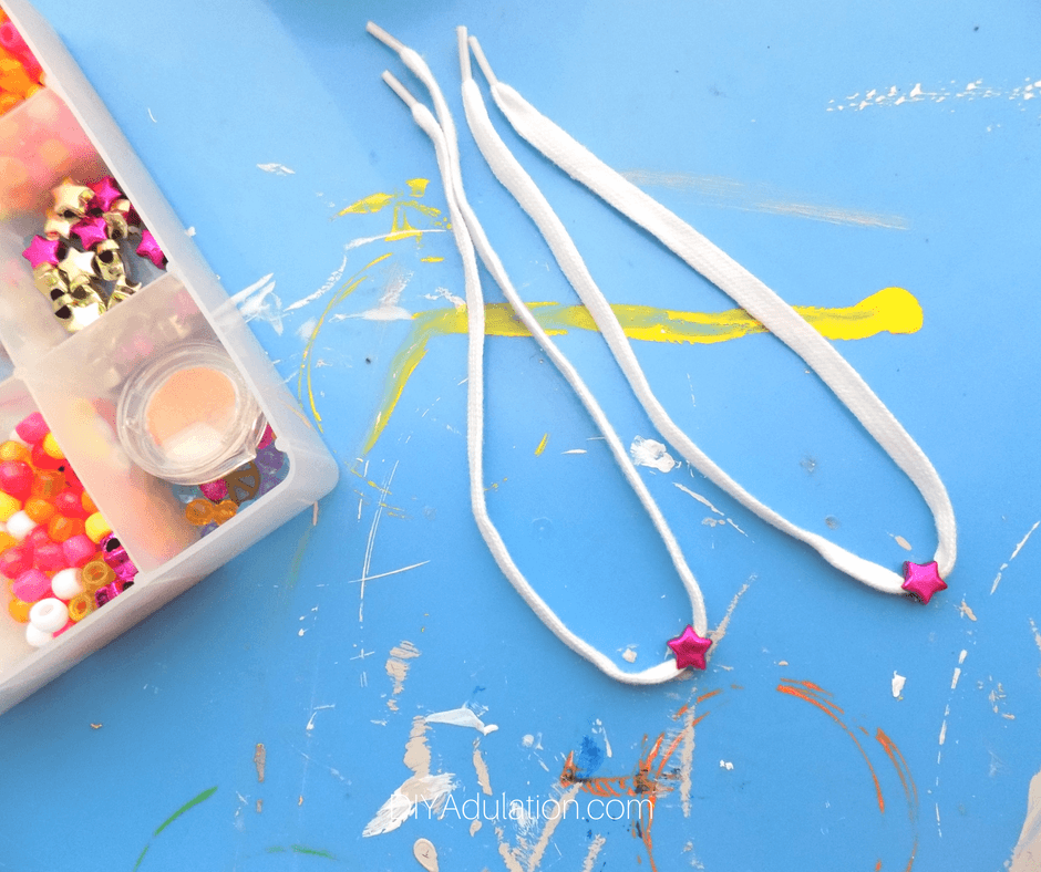 White Shoe Laces with pink star beads