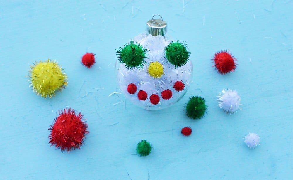 Glittery pompom snowman
