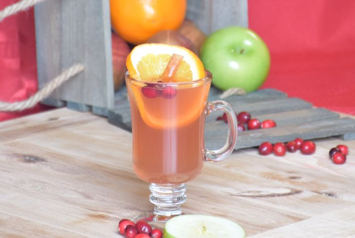 cup full of spiced cider topped with fruit