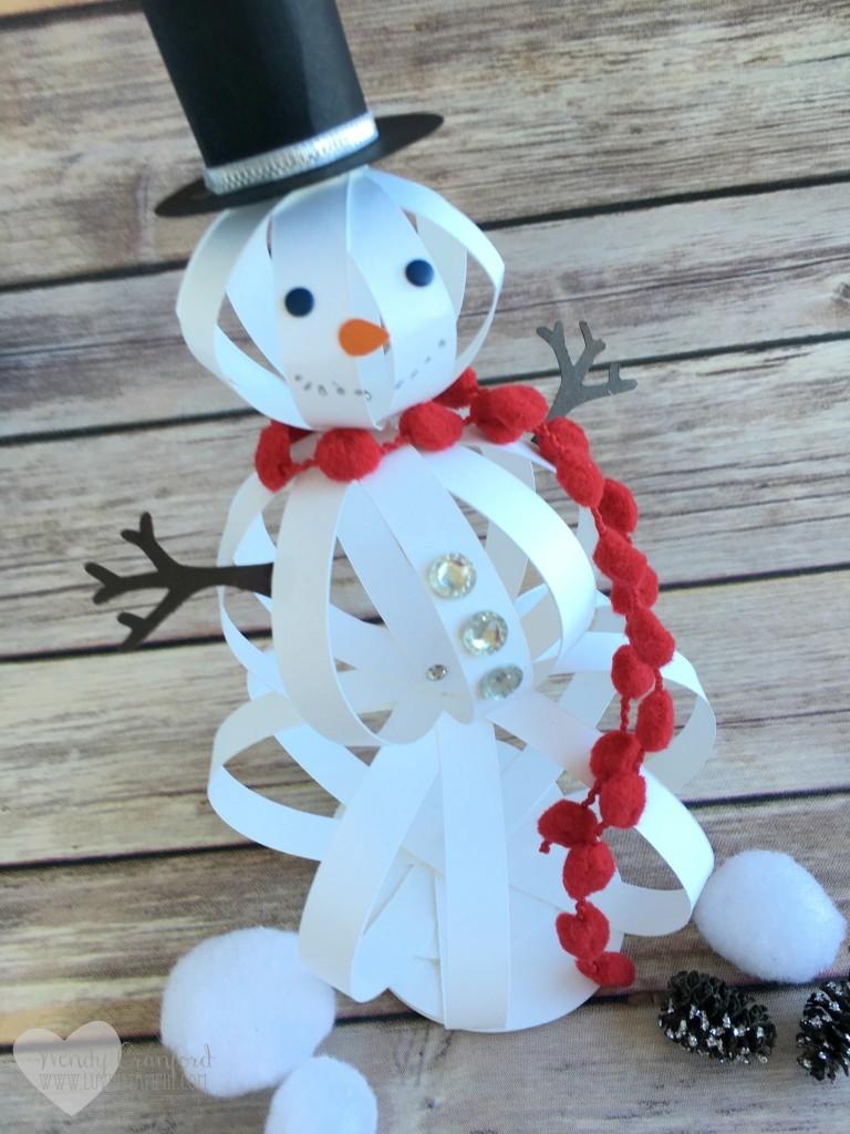 Paper strips snowman