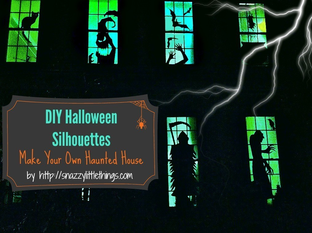 Haunted House windows with text overlay - DIY Halloween Silhouettes