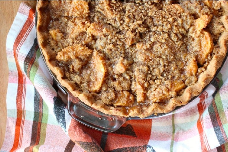 Close up of Dutch apple pie