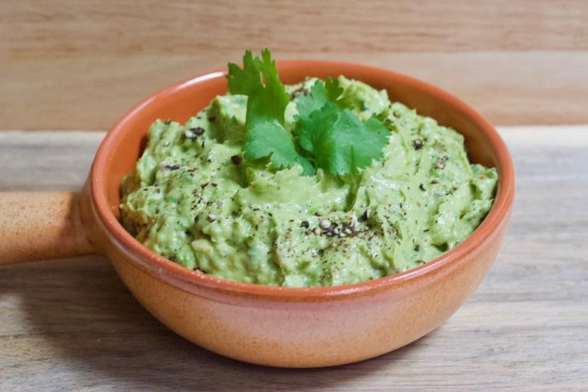 Close up of dish of guacamole