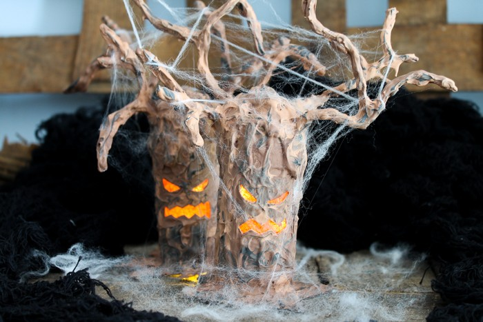 Lit up spooky Halloween tree