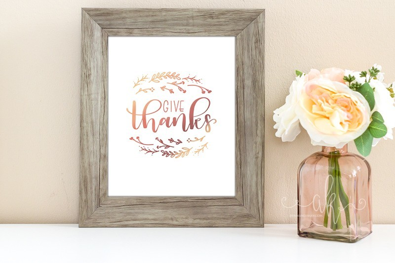 Give Thanks Printable in Wooden Frame next to Flowers in Vase