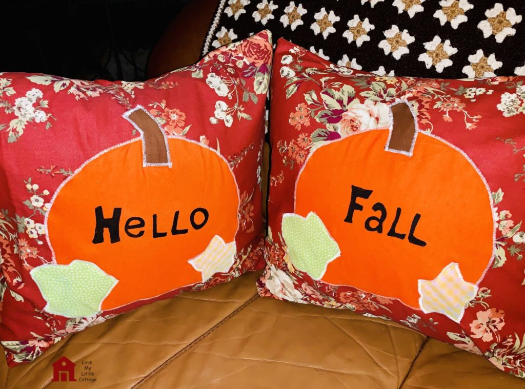 Fall Pumpkin Pillows on Couch