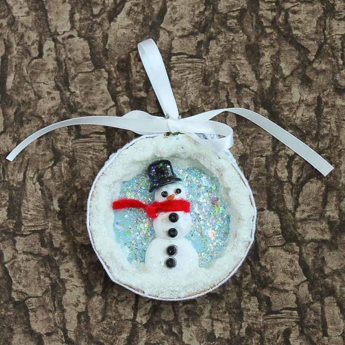 Glittery snowman ornament