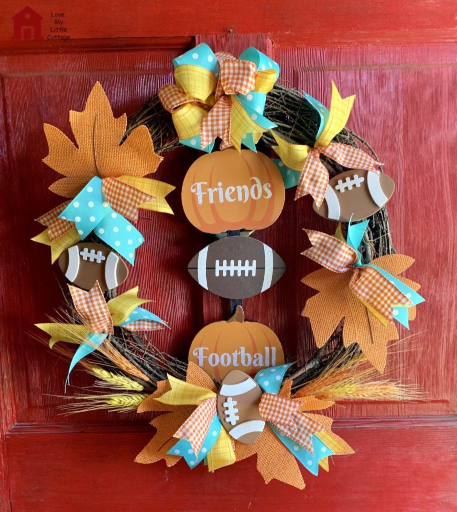 Fall Football Wreath on a Door