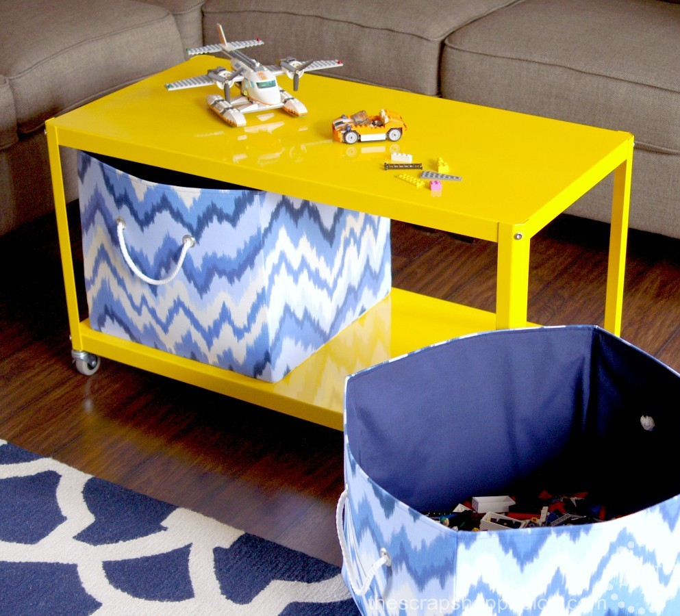Yellow coffee table with storage bins