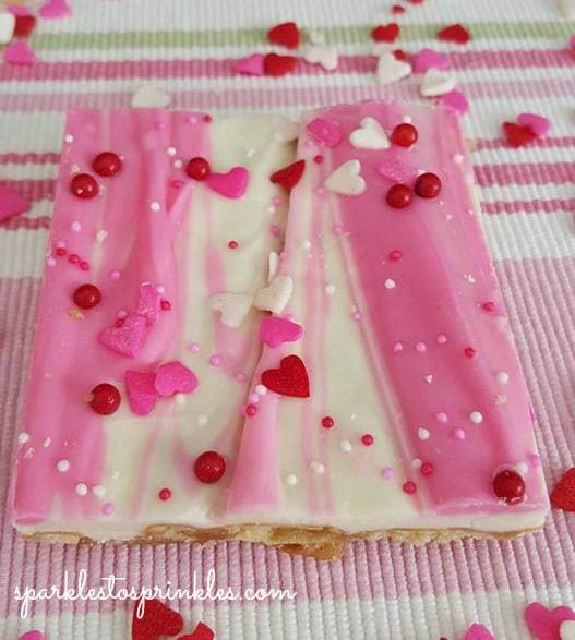White and pink chocolate with heart sprinkles