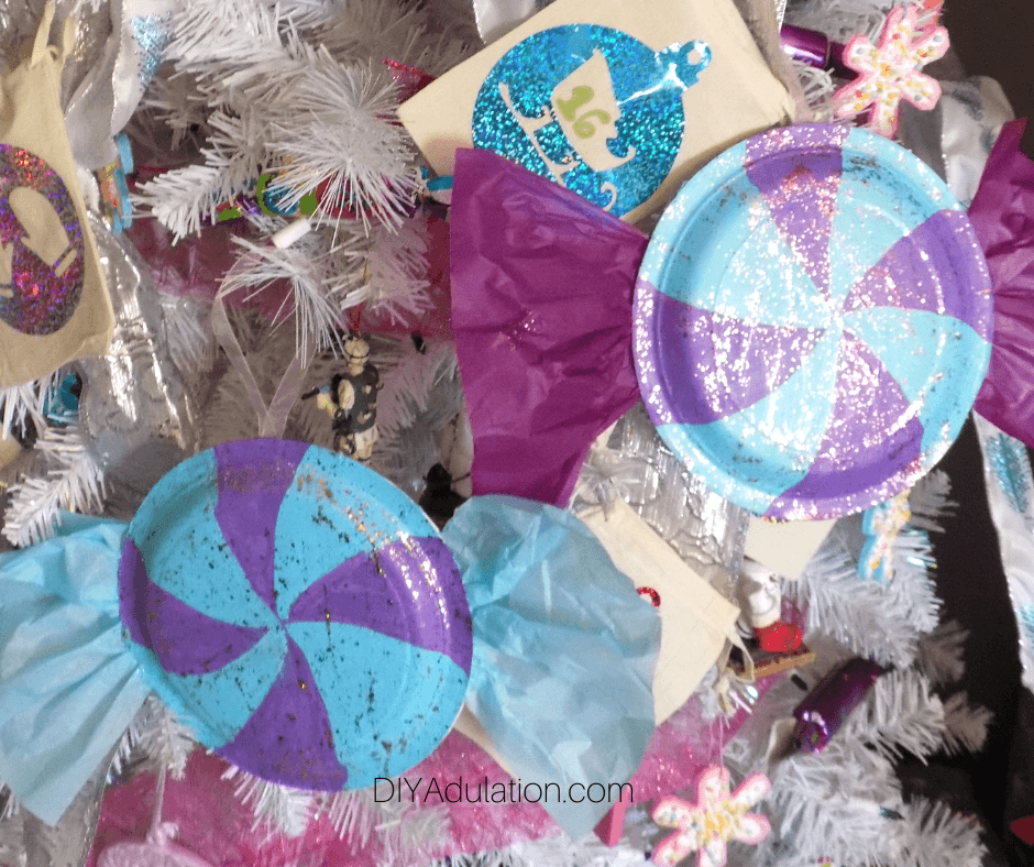 Close Up of Glittery Painted Candy Ornaments on Christmas Tree