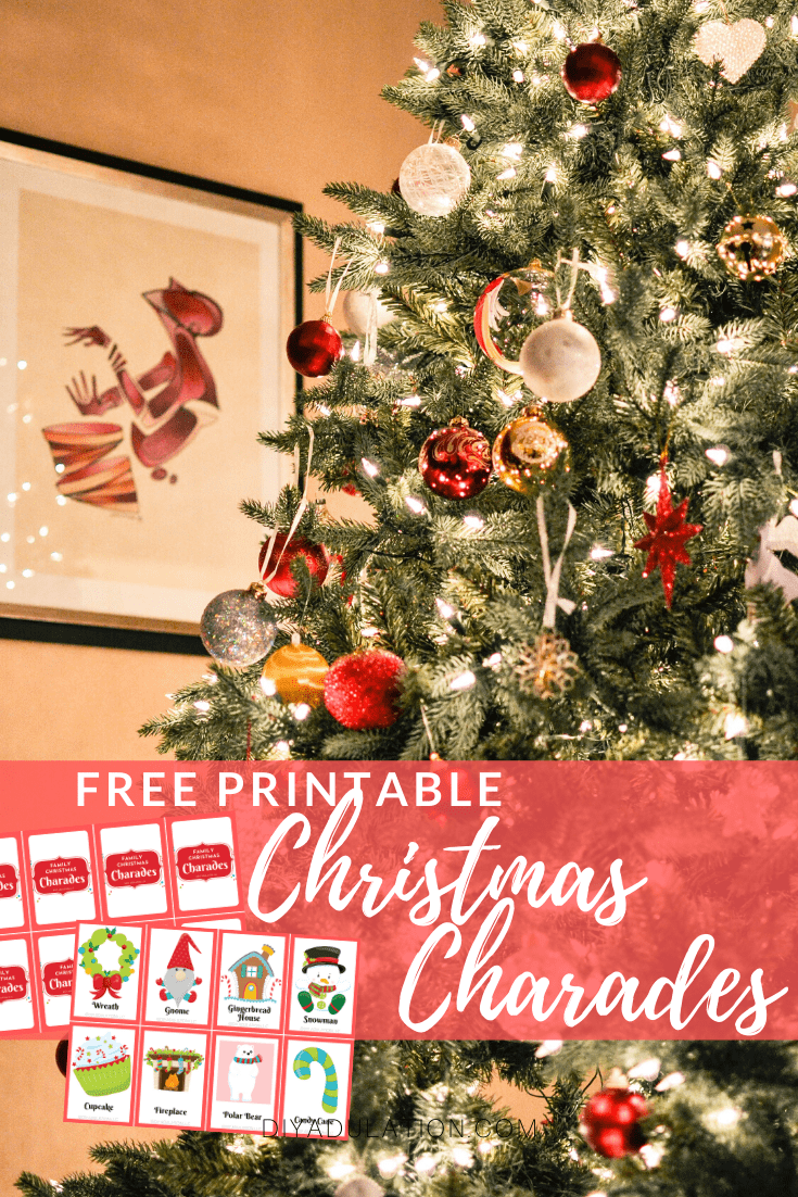 Decorated Christmas Tree with text overlay - Free Printable Christmas Charades