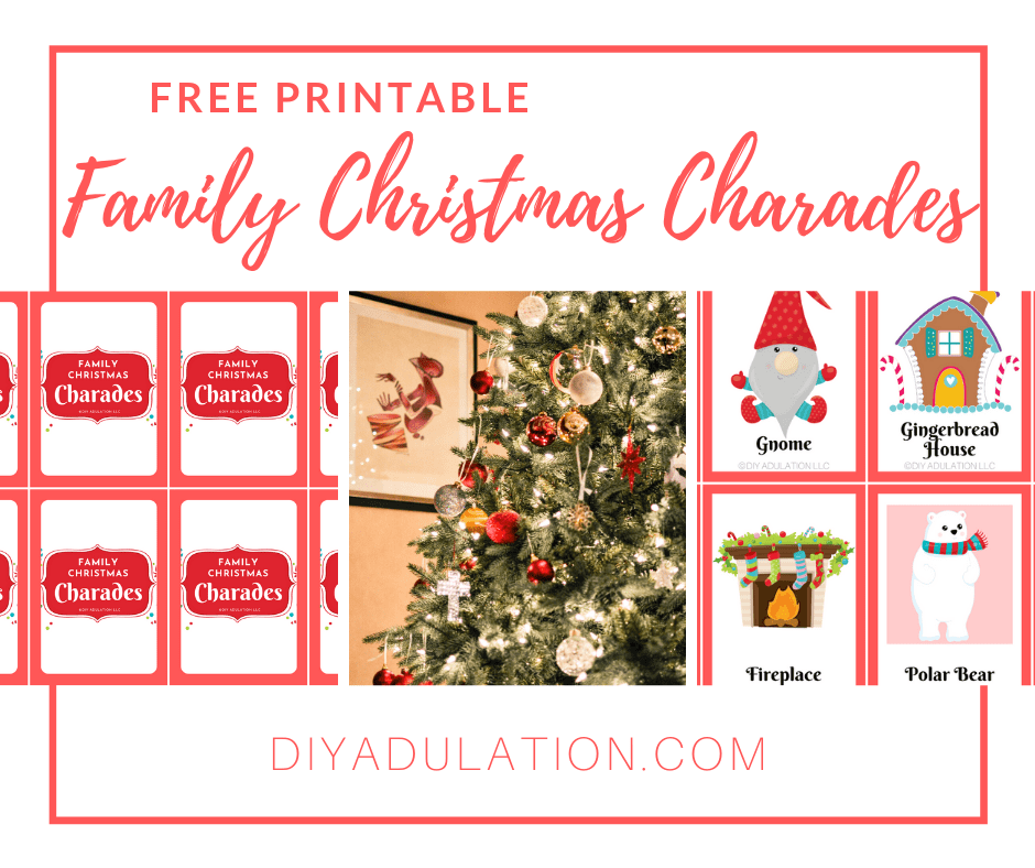 Decorated Christmas Tree and Charades Cards with text overlay - Free Printable Christmas Charades