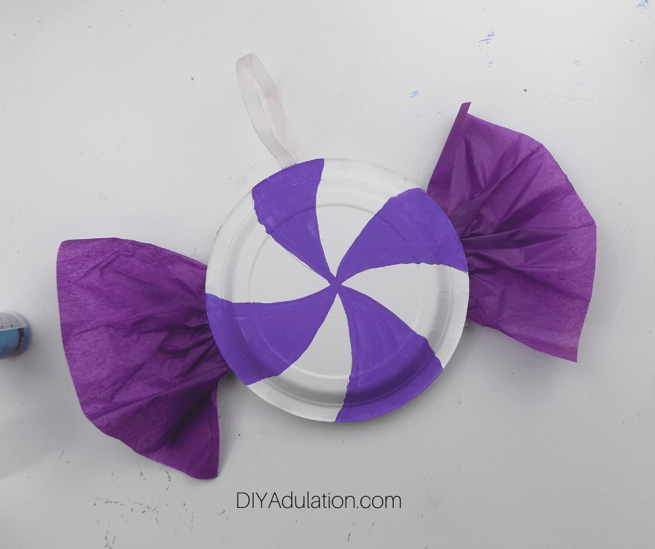 Lavender Candy Sections Painted on Paper Plate