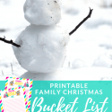 Snowman with Stick Arms with text overlay - Printable Family Christmas Bucket List