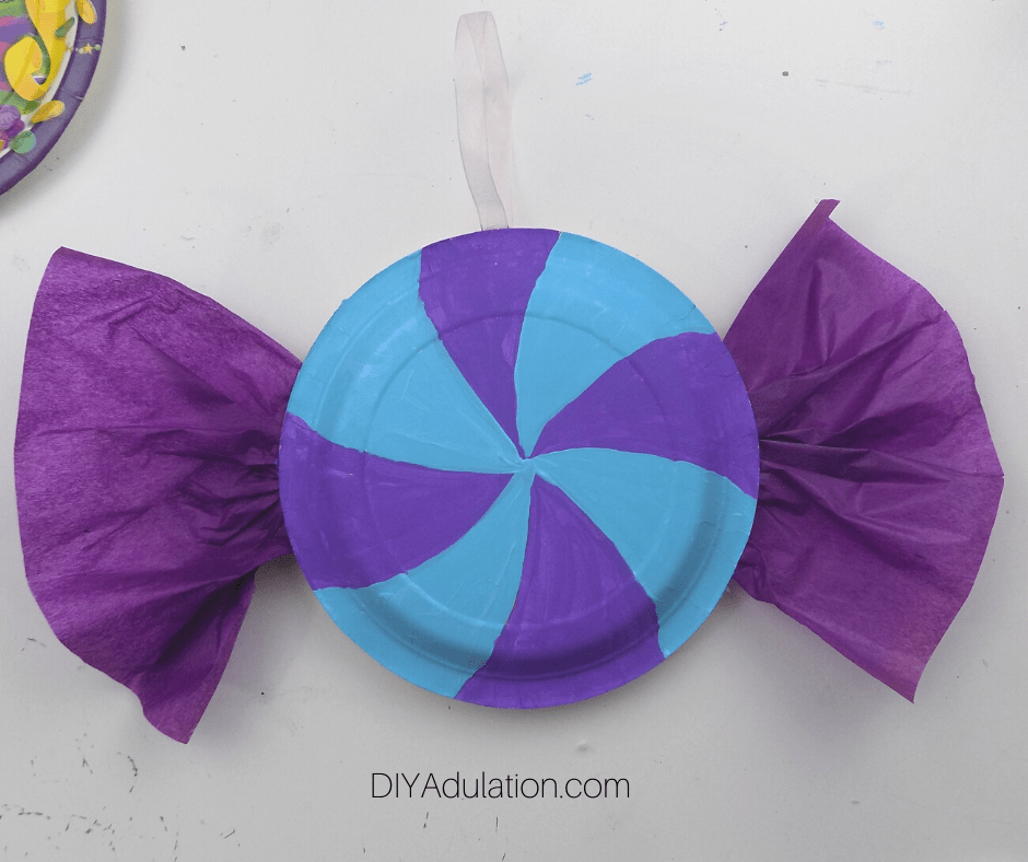 Teal and Lavender Candy Sections Painted on Paper Plate