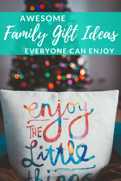 Throw Pillow with Christmas Tree in Background with text overlay - Awesome Family Gift Ideas Everyone Can Enjoy