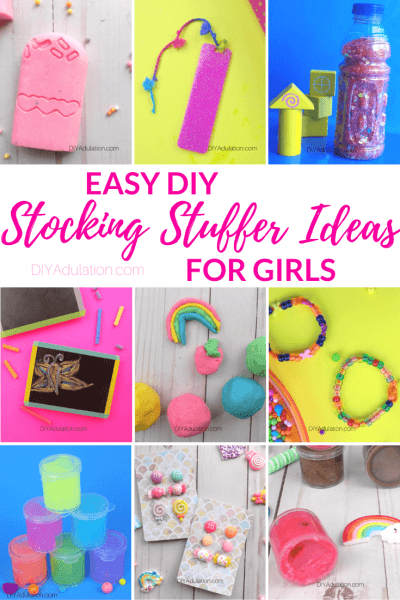 Collage of DIY Gifts with text overlay - Easy DIY Stocking Stuffer Ideas for Girls