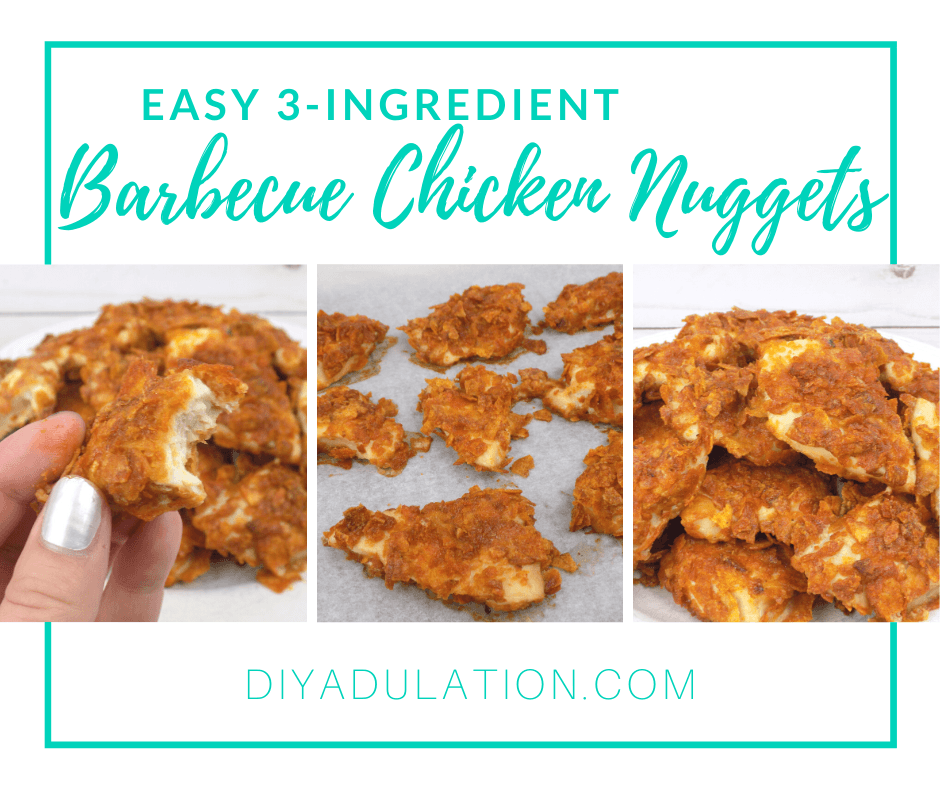 Collage of Photos of Chicken Nuggets with text overlay - Easy 3-Ingredient Barbecue Chicken Nuggets