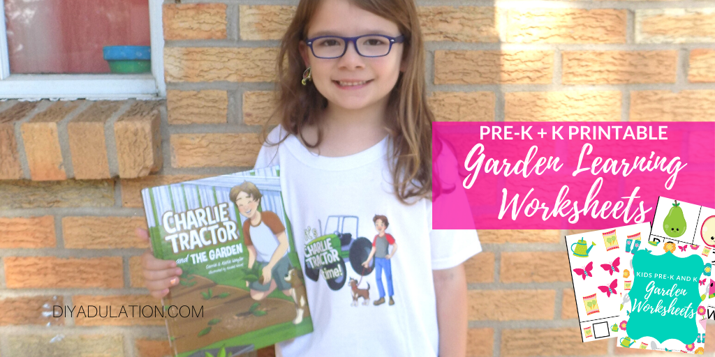 Girl Holding Children's Book with Text overlay - Pre-K and K Printable Garden Learning Worksheets