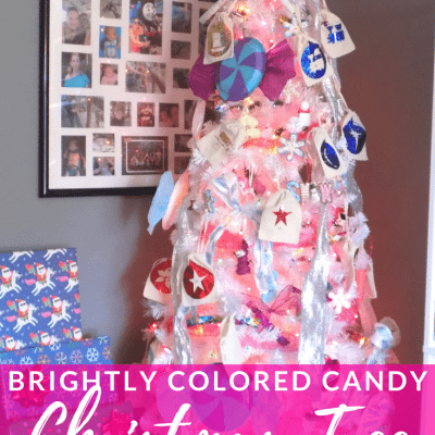 White Christmas Tree with Wrapped Presents Underneath with text overlay - Brightly Colored Candy Christmas Tree