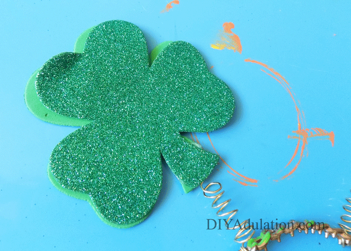Shamrock Attached to Gold Spring
