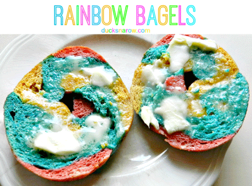 Butter rainbow bagels on a plate
