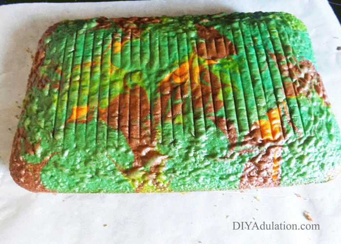 Cooled Cake on parchment Paper