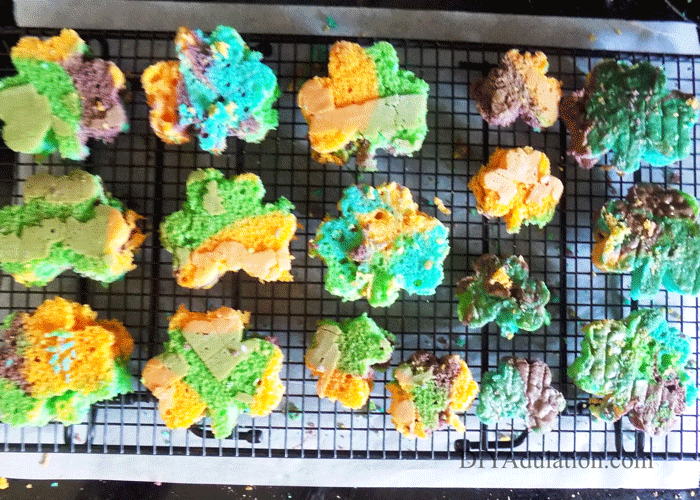 Cut Out Shamrock Cakes on Cooling Rack