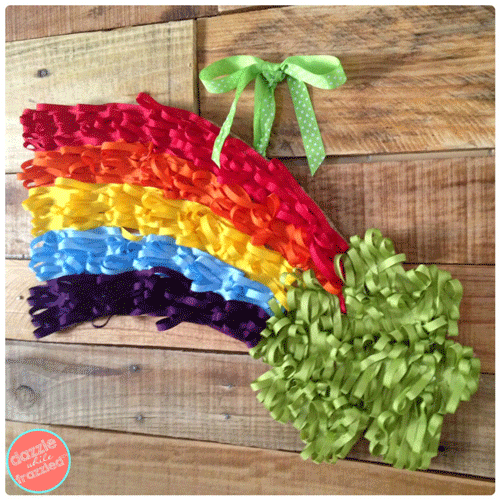 Ribbon Rainbow and shamrock wall hanging on a pallet wall