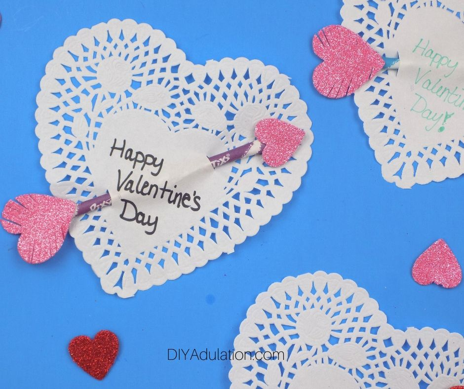 Easy Heart Arrow Valentines on Blue Background - DIY Adulation