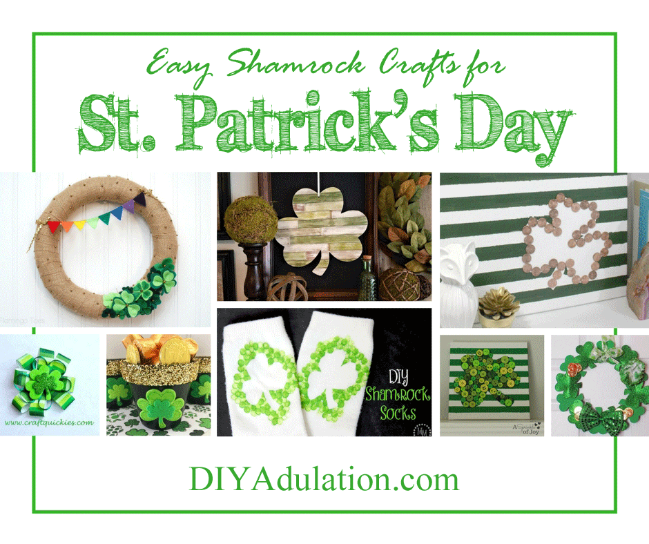 Collage of Shamrock Projects with text overlay: Easy Shamrock Crafts for St. Patrick's Day