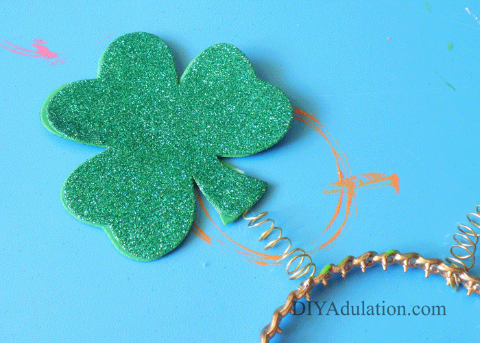 Shamrock attached to Spring and attached to Headband