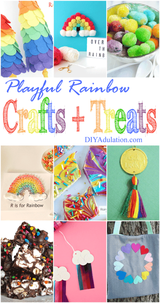 Collage of Rainbow Crafts and Treats with text overlay: Playful Rainbow Crafts and Treats