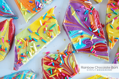 Rainbow swirled chocolate bark with rainbow sprinkles